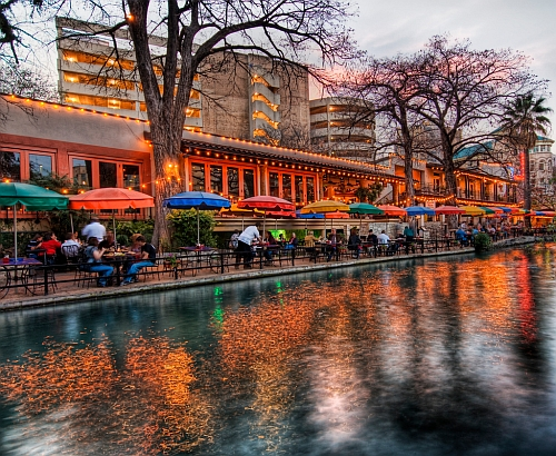 The river walk in San Antonio, Texas