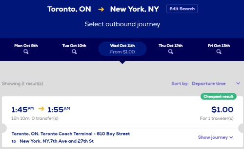 More time than money? $1 Megabus tickets from Toronto to New