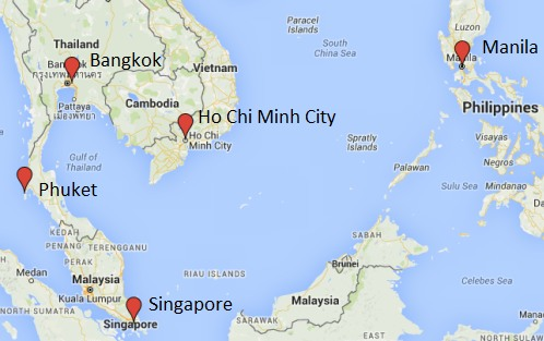 Map Of Philippines And Thailand Toronto to Thailand, Singapore, Vietnam, Philippines   $642 to