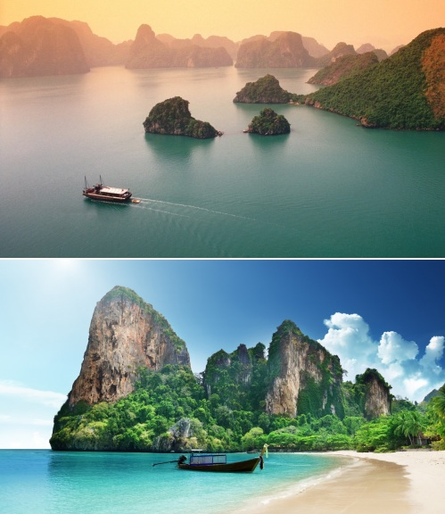 Halong Bay, Vietnam and a beach in Thailand